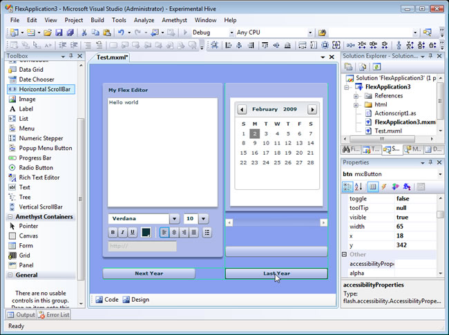 SapphireSteel Software: Free Flex IDE (PE) v Flex Visual Design